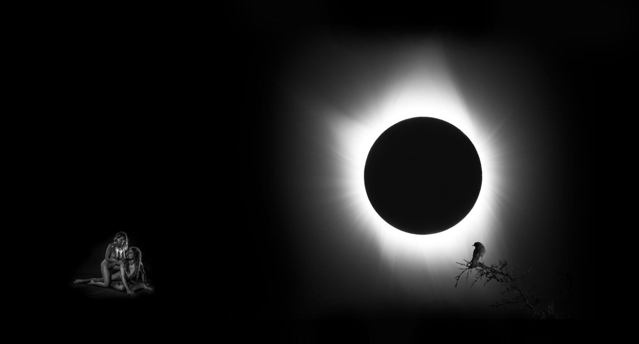 Black and white composite photograph depicting a naked couple who are laying under the dramatic sky of a solar eclipse with a small bird watching over them.