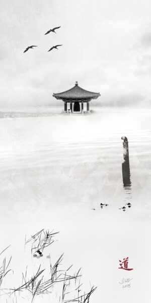 10x20 vertical panel that is a composite black and white photograph featuring reades of grass in the lower left corner, a pier in the middle right with a cormorant bird on top and a Korean temple in the background with three brown pelicans flying in from the top left.