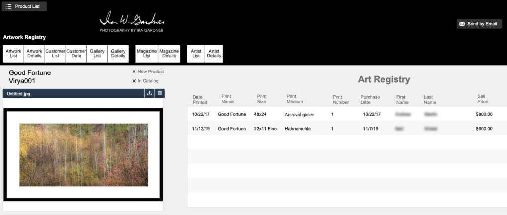 Image of a computer screen showing the art registry that keeps track of purchase date, size, price, and owner of every work I sale.